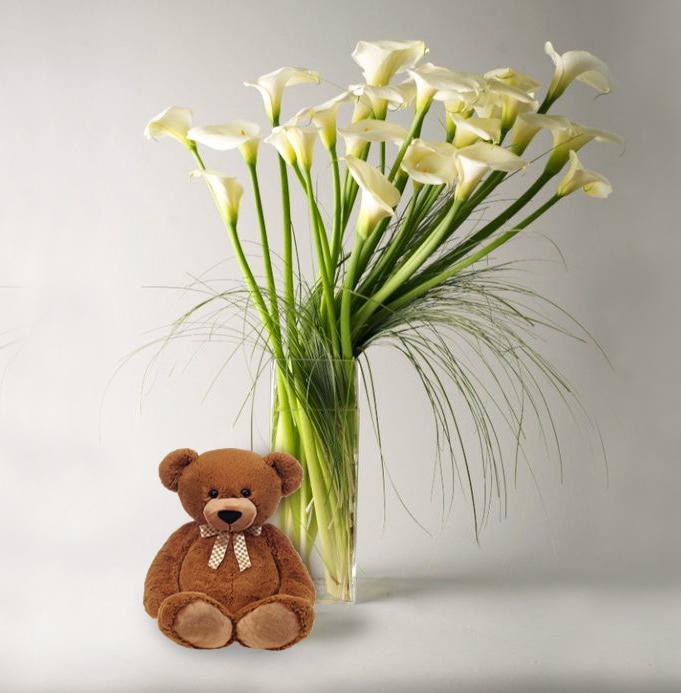 Calla Lilies & Teddy