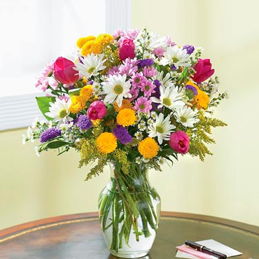 Flores Brillantes <br><B>JARRON GRATIS!